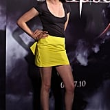 Kristen Stewart flew to Australia to attend a Twilight: Eclipse Q&A session. She looked super stylish in a hot yellow skirt and simple black tee.