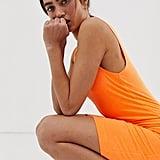 Weekday Bubble Body-Con Jersey Dress in Neon Orange