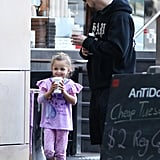 Joel Madden kept a close eye on daughter Harlow during a family coffee run in Sydney on May 22.