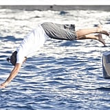Leonardo DiCaprio dove off a yacht while cruising around Ibiza with friends in August 2013.
