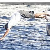 Leonardo DiCaprio dove off a yacht.