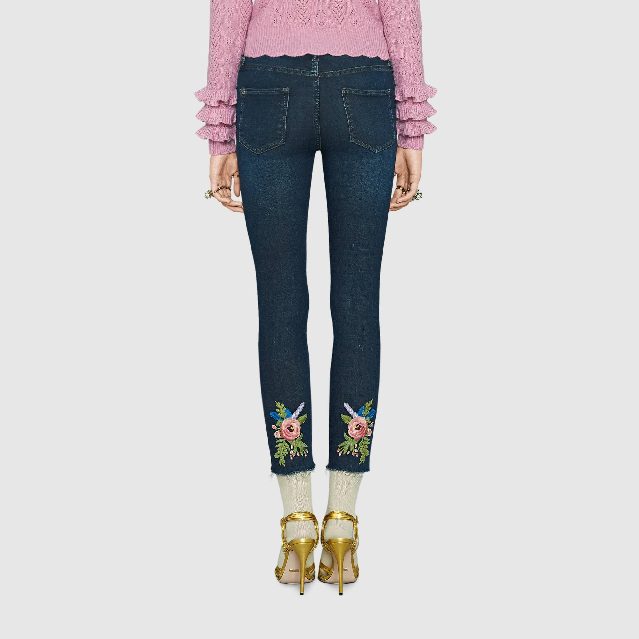 737e570ab Gucci Angry Cat Embroidered Denim Pants in Black | Gucci Jeans ...