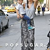 Flynn Bloom smiled big for the camera with his mom, Miranda Kerr, in NYC.