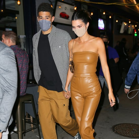 Kendall Jenner Brown Vegan Leather Outfit With Devin Booker