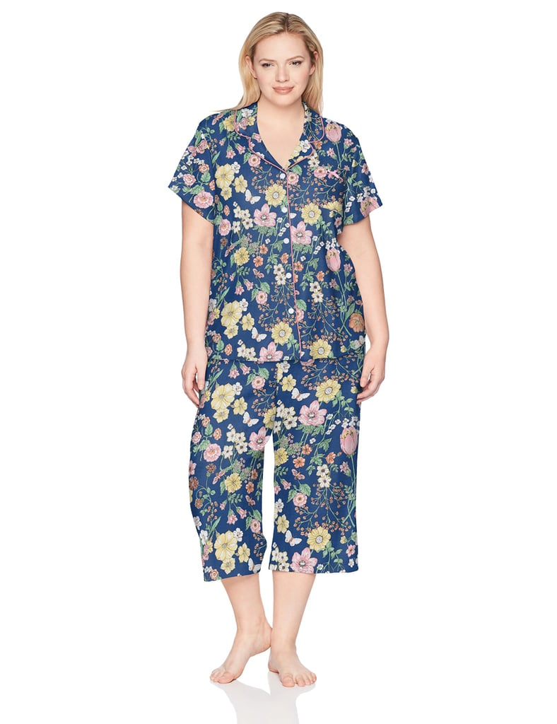 Karen Neuburger Women's Short-Sleeve Floral Girlfriend Crop Pajama Set