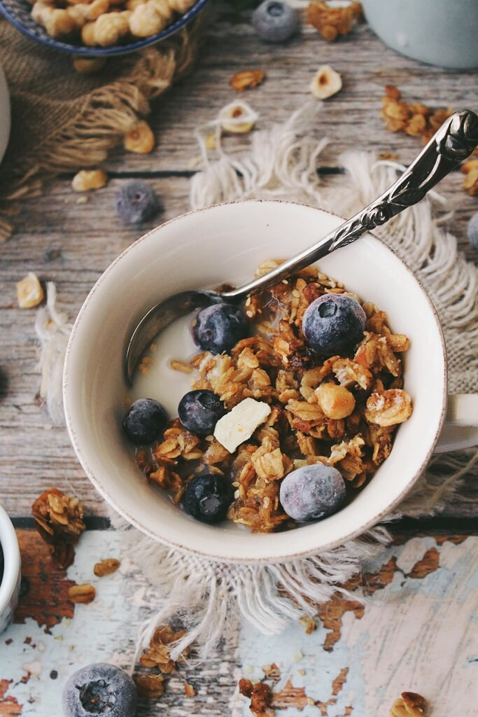 Chai, Pear, and White Chocolate Chunk Granola