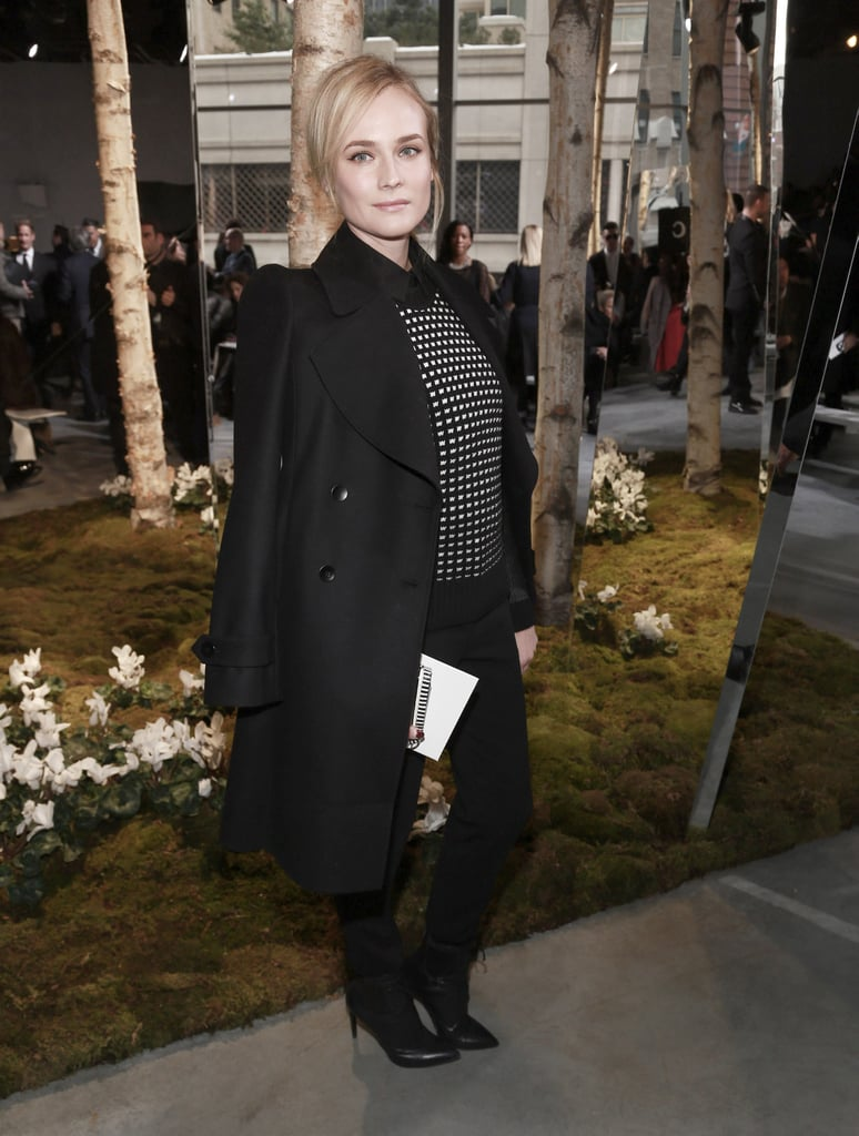 Diane Kruger was chic in black at the Boss Women show on Wednesday.