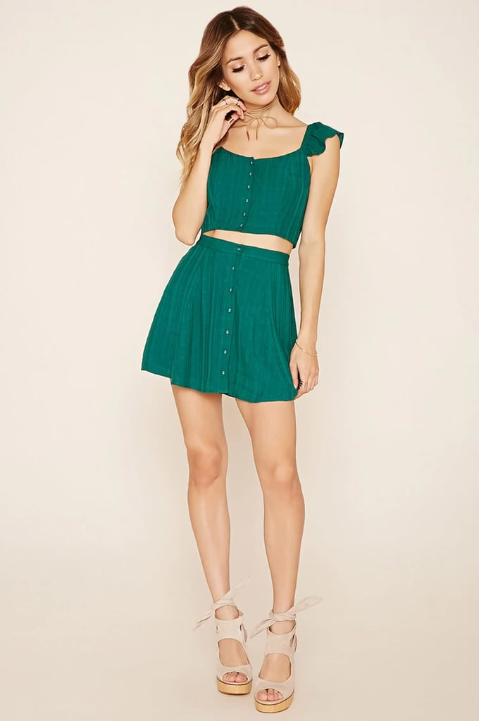 9774f3c4d81bf Forever 21 Button-Front Crop Top ( 15) and Mini Skirt ( 15 ...