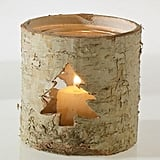 Rustic Birch Bark Votive Holder With Christmas Tree Cutout