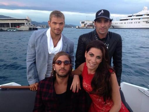 Kellan Lutz hung out with friends in Monaco. Source: Twitter user FingerprintComm