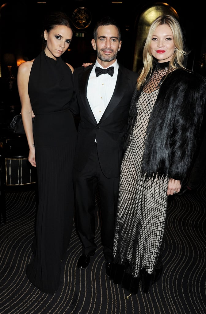 Victoria and Harper Beckham were chic for their trip to London Saturday, and Posh kept the good looks coming at tonight's British Fashion Awards at the city's Savoy Hotel. Inside the celebration, she met up with fellow designers Marc Jacobs, Stella McCartney, and milliner Philip Treacy. Kate Moss was also on hand, though without the company of her husband, Jamie Hince.  The elite crowd came together to recognize the year's top talent in UK fashion. A surprised Victoria took home the award for best designer brand and was gifted her first BFA statue by friend Marc Jacobs. The coveted honor of designer of the year went to Alexander McQueen's Sarah Burton, who famously created Kate Middleton's wedding dress, while Stella McCartney was declared this year's red-carpet queen.