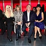 Donatella Versace, Francois-Henri Pinault, and Salma Hayek