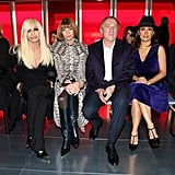 Anna Wintour sat between Donatella Versace and Francois-Henri Pinault, who was with his wife, Salma Hayek, at the Christopher Kane Fall 2013 show in London. Salma has only appeared once on the cover of Vogue, in 2005.
