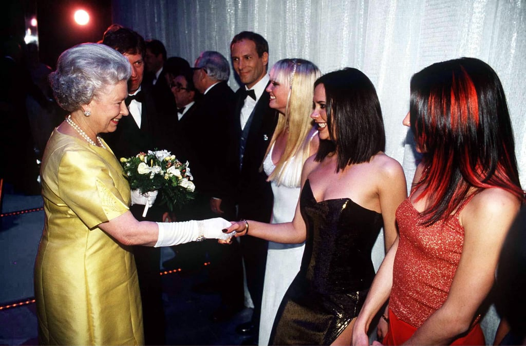 The Queen, Emma Bunton, Victoria Beckham, and Mel C