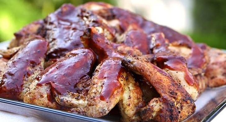 Grilled Chicken Thighs And Wings With Barbecue Sauce Easy Grilling