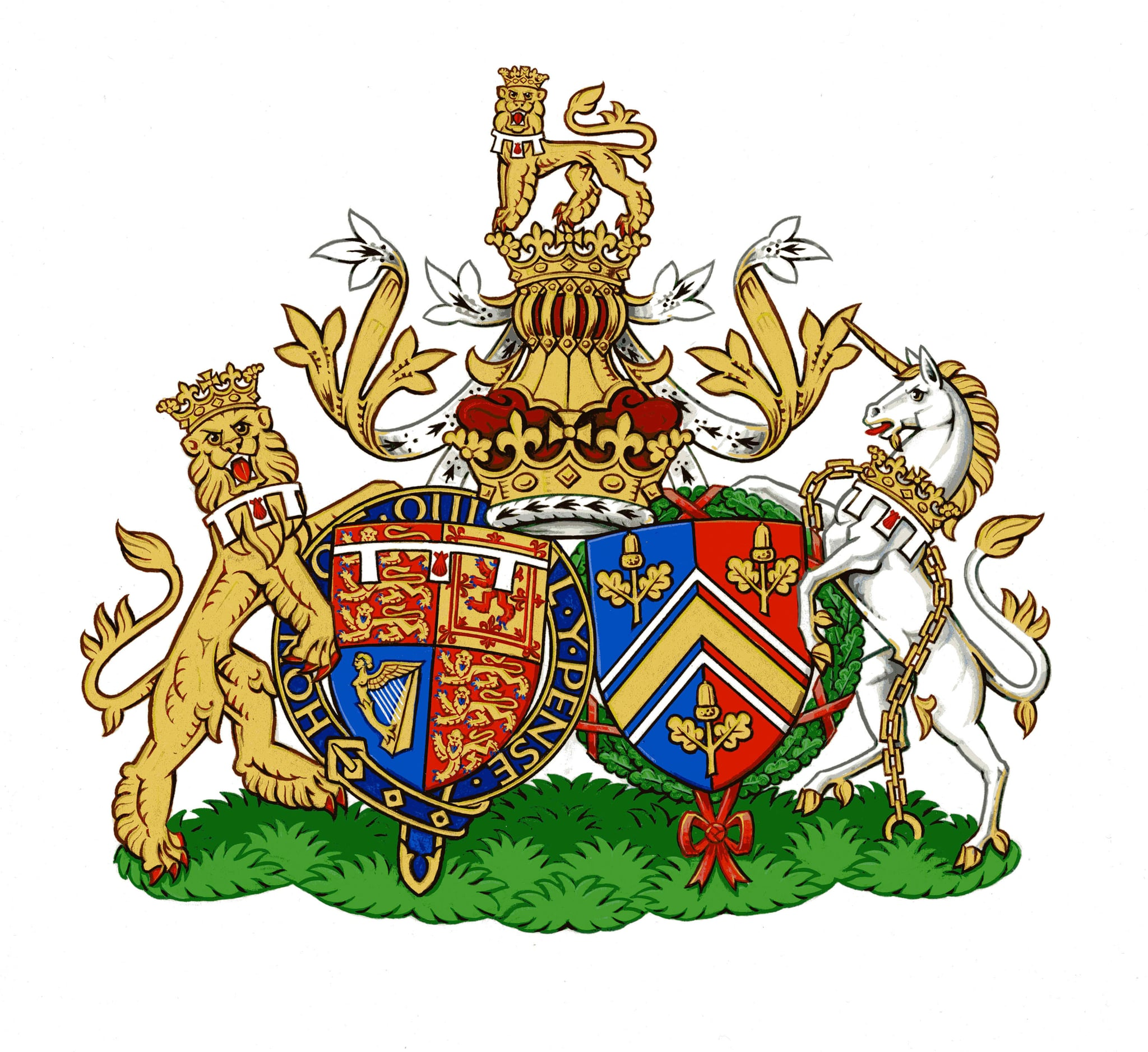 UNSPECIFIED, UNDATED: This undated handout image provided by Kensington Palace, London, England on September 27, 2013 depicts the new Conjugal Coat of Arms for Prince William, Duke of Cambridge and Catherine, Duchess of Cambridge of the United Kingdom, which will represent them in heraldic terms as a married couple. Designed by The College of Arms in London, Conjugal Arms traditionally show the separate shields of a royal husband and wife, side by side. The Duke's shield on the left is his version of the Royal Coat of Arms granted to him by Queen Elizabeth II on his 18th birthday. On the right, the Duchess's shield is from the Middleton family Coat of Arms, granted to the family in 2011 ahead of her marriage. (Photo by Kensington Palace via Getty Images)