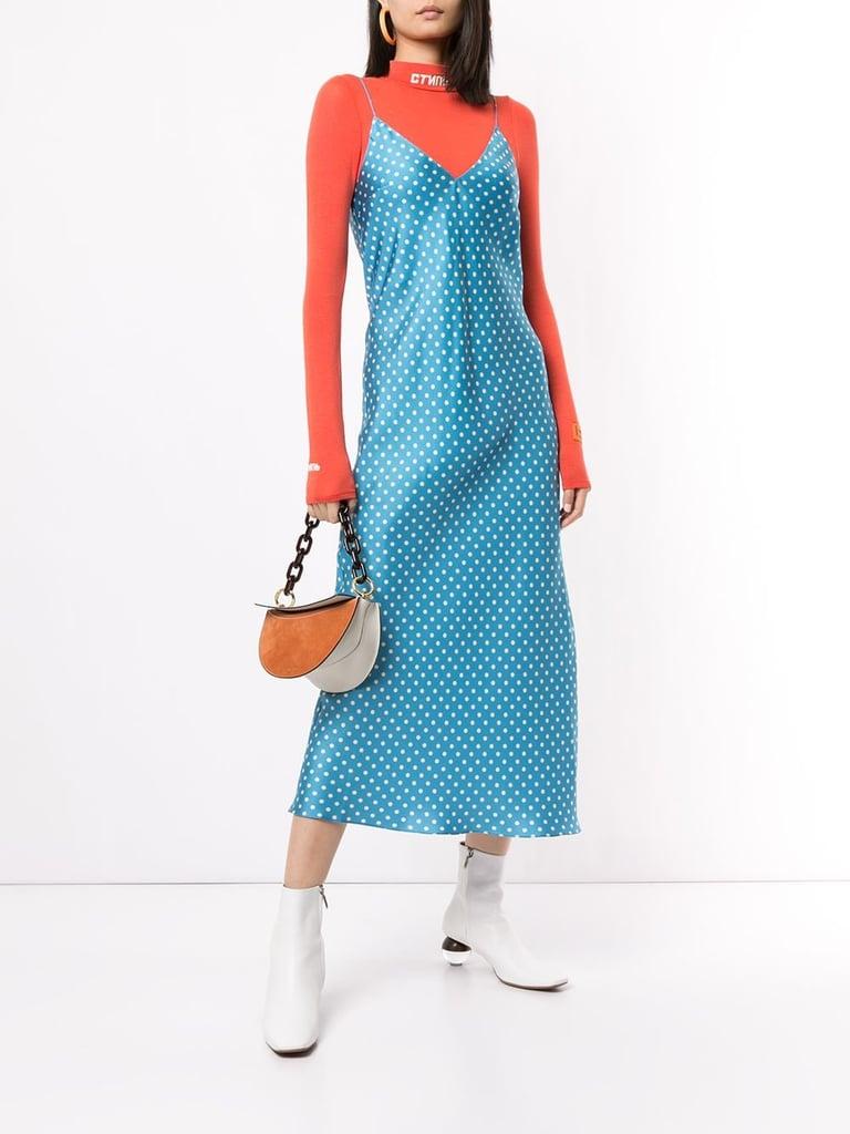 Silk strap dress-Silk slip dress Sleeveless silk maxi dress Silk shift dress Silk maxi dress with polka dot Silk polka dot sundress