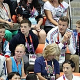 David, Cruz, Romeo, and Brooklyn Beckham at the Olympics.