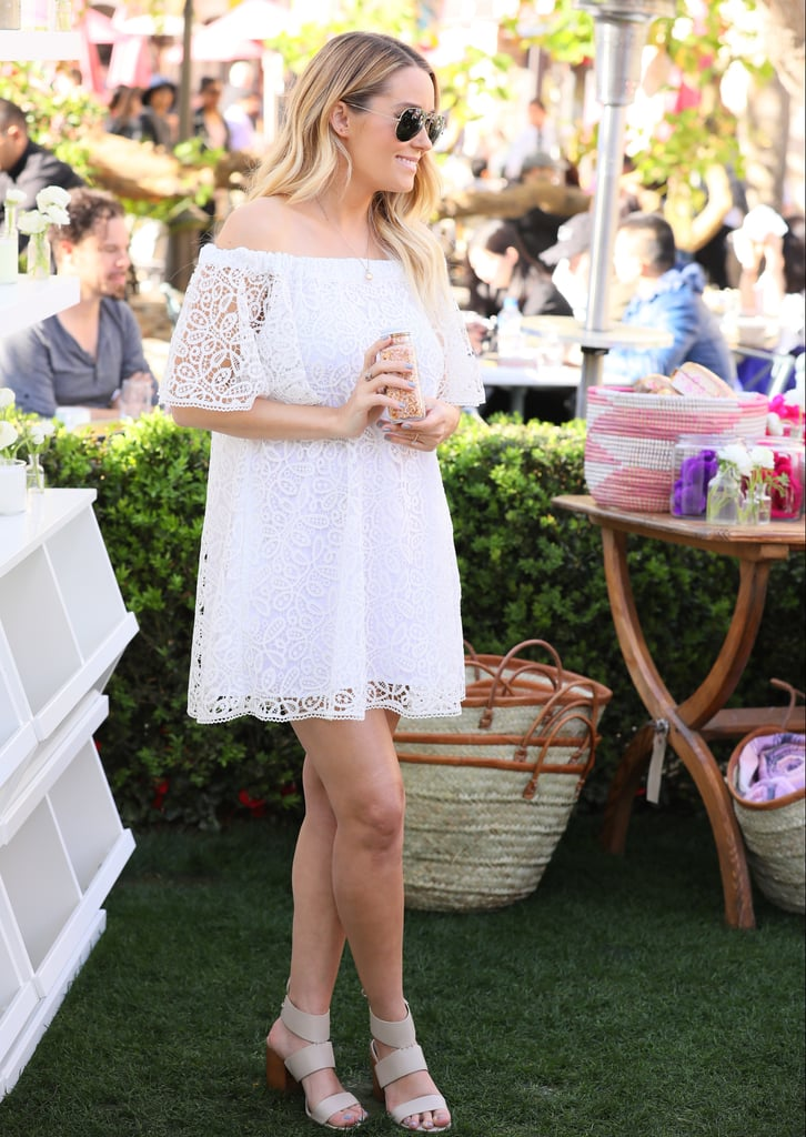 She Debuted Her Bump in Public in This White Crochet Dress