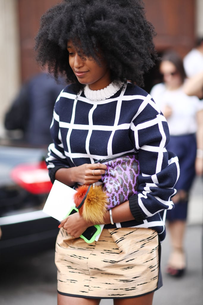 Style star Julia Sarr-Jamois worked her magic on a statement knit, leopard-print clutch, and printed mini. Source: Greg Kessler