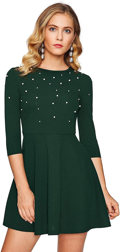 Floerns Beaded Fit and Flare Skater Dress