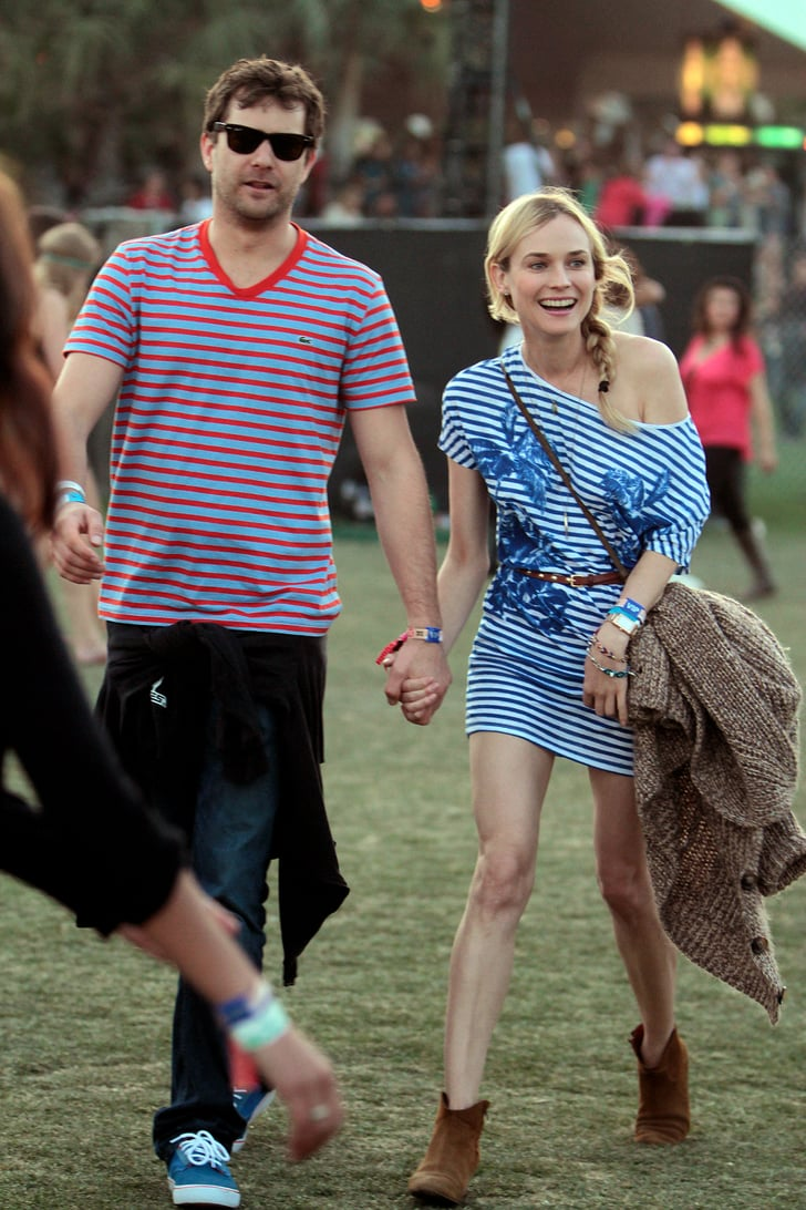 Joshua Jackson and Diane Kruger matched in stripes and held hands in 2012.