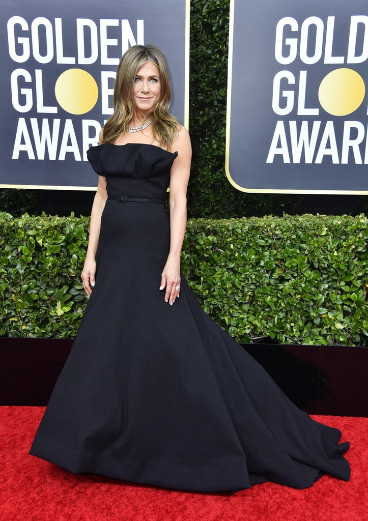 Jennifer Aniston's Sleek Black Gown at Golden Globes 2020