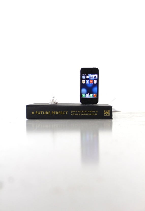Upcycled from a book, this iPhone and iPod dock ($58) is fanciful and functional. Use it to charge your phone and turn on the bulb to act as a night light.