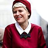 We love Elisa Nalin's polished take on the turban beanie.