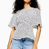 Topshop Austin Star Print Angel Sleeve Blouse