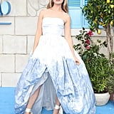 Lily James's Oscar de la Renta Ball Gown and Ribbon Heels