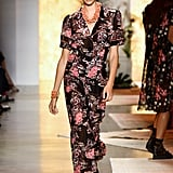 Wearing a floral jumpsuit at Anna Sui.