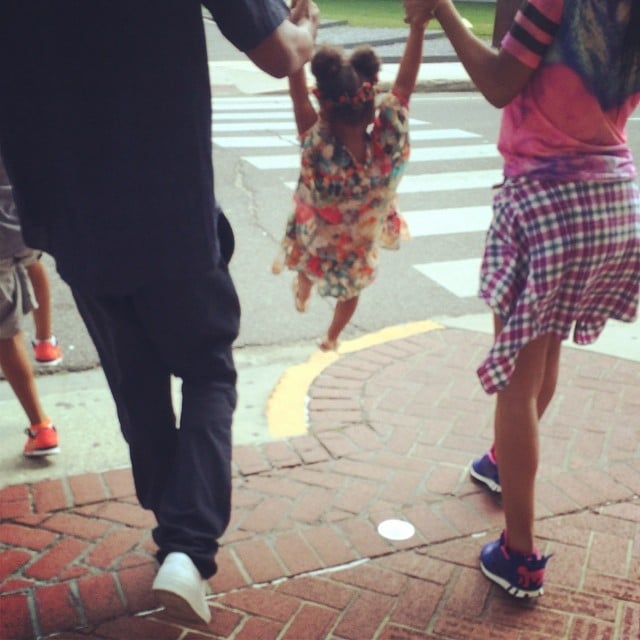 Beyoncé and Jay Z continued their Summer fun by swinging Blue Ivy around. Source: Instagram user beyonce