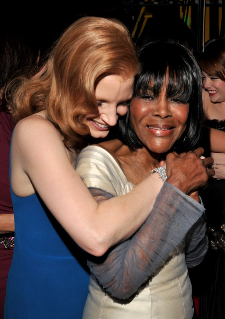 Actresses Jessica Chastain and Cicely Tyson hugged backstage at the 2012 SAG Awards.