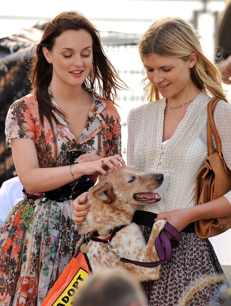Leighton Meester and Clemence Poesy Filming Gossip Girl