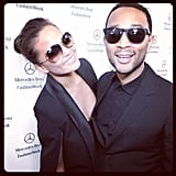 Chrissy Teigen and John Legend looked cool in shades. Source: Instagram user mbfashionweek