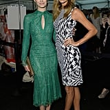 Monique Lhuillier fans Emmy Rossum and Stacy Keibler posed backstage together before the designer's Spring show on Saturday.