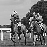Elizabeth and Margaret were joined by their cousin, the Duke of Kent, on a horseback ride in 1968.