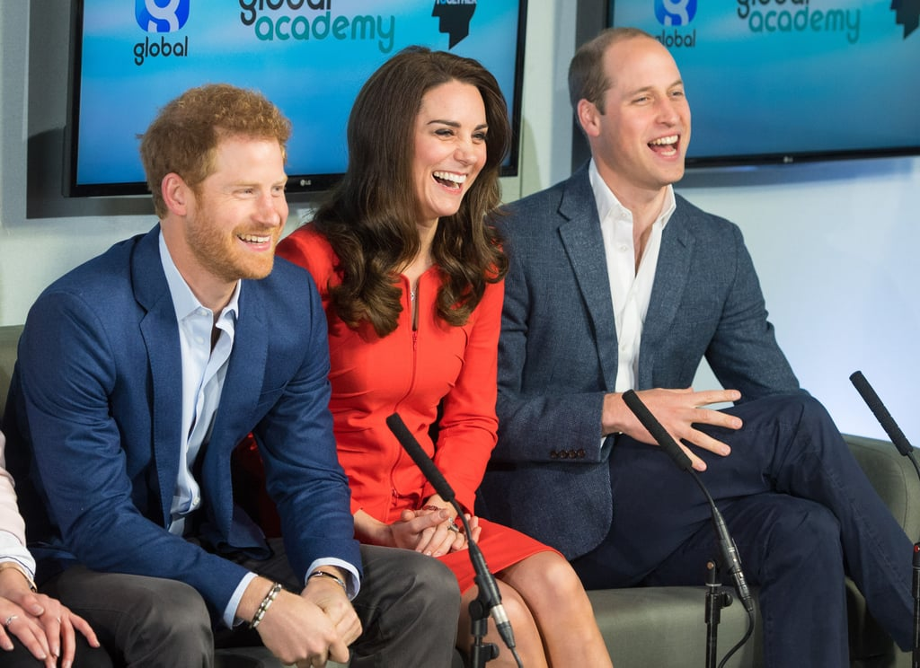 Do Prince William, Kate Middleton, and Prince Harry ever NOT have fun when they're together? We think the answer is no. The trio couldn't have looked more excited when they stepped out in Hayes, London, on Thursday to tour a TV studio during the official opening of the Global Academy, which helps prepare students for careers in broadcast and digital media. While the royal brothers dressed business casual in slacks and blazers, Kate looked like she could easily deliver the evening news in a sharp red dress suit. This is just the latest work they have done for their Heads Together campaign. On Wednesday, Kate had a casual meet-up with London Marathon runners, while her husband FaceTimed with Lady Gaga to talk about mental health awareness.