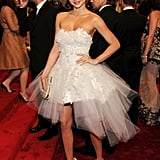 Miranda had a princess moment at the 2011 Metropolitan Museum Costume Institute Gala, posing in a frothy Marchesa confection and white Nicholas Kirkwood heels.