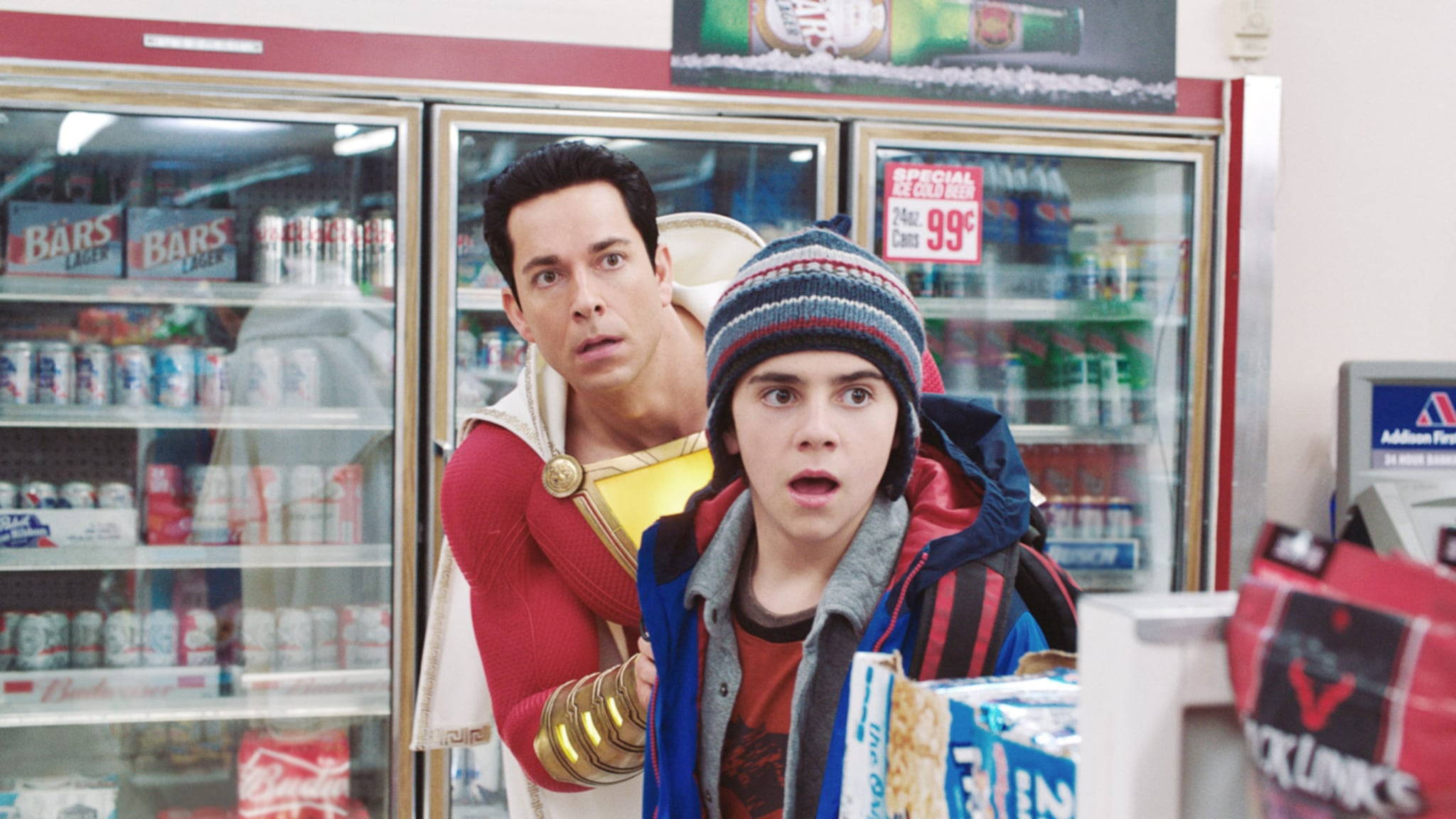 SHAZAM!, from left: Zachary Levi (as Shazam), Jack Dylan Grazer, 2019. ph: Steve Wilkie /  Warner Brothers / courtesy Everett Collection