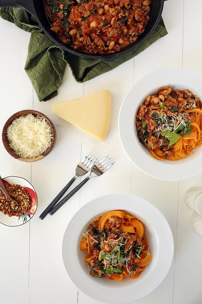 Tuscan Kale and Sausage Ragu With Butternut Squash Fettuccine