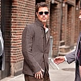 """In May, he gave a little """"Blue Steel"""" for the cameras while leaving The Late Show With Stephen Colbert in NYC."""