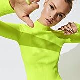 Carbon38 x Adam Selman Rib Knit Mock Neck Long Sleeve Tee in Neon