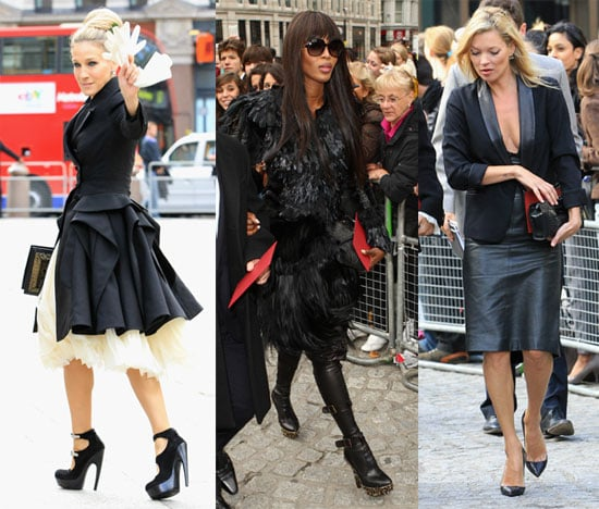 Kate Moss, Naomi Campbell and Sarah Jessica Parker at Alexander McQueen's Memorial Service