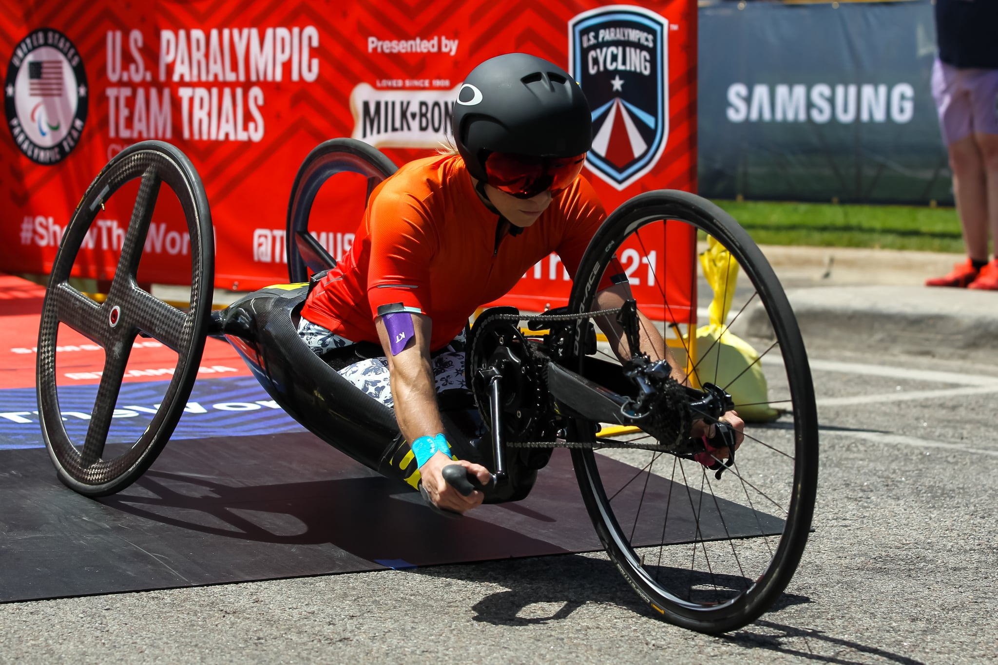 MINNEAPOLIS, MN - JUNE 19: Oksana Masters of the United States competes in the WH4-5 17.0 km Course time trial during the 2021 U.S. Paralympic Trials at Gold Medal Park on June 19, 2021 in Minneapolis, Minnesota. (Photo by David Berding/Getty Images)