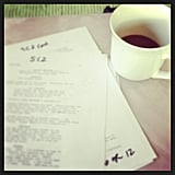 Miles Teller went over his lines with a cup of coffee. Source: Instagram user milest87