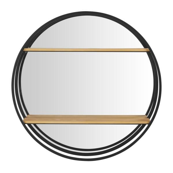 StyleWell Round Wood Black Metal Wall-Mount Bookshelf with Mirror