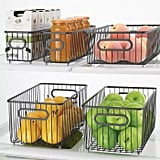 mDesign Metal Kitchen Pantry Food Storage Basket Bin