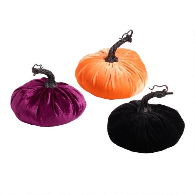 Velvet Pumpkins Set of Three